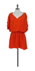 Alice + Olivia short dress Orange Silk Draped Sleeves on Tradesy