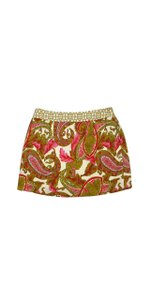 MILLY Olive Green Pink & Red Paisley Print Skirt