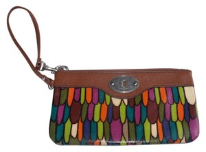 Fossil Pvc Coated Keyper Canvas Wristlet in multicolor