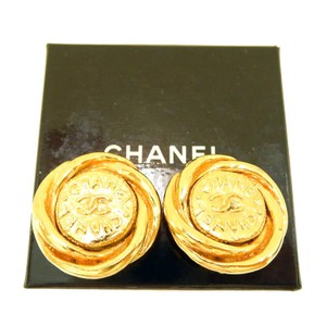 Chanel CHANEL Gold Plated CC Logos ROUND Swirl Clip Vintage Earrings