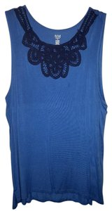 a.n.a. a new approach Crochet Sleeveless Dress Cloths Womens Top Blue