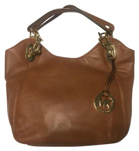 Michael Kors Lilly Leather Luggage Sale Tote in Luggage Brown
