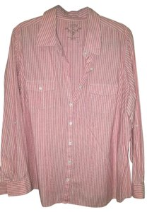 Sonoma Striped Pinstripe Tab Sleeve Comfortable Button Down Shirt coral