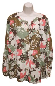 Hot Cotton Camo Plus-size Floral Top Green Multi