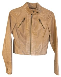 The Limited Size Small Faux Leather Zippers Light Tan Leather Jacket