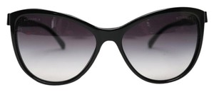 Chanel Chanel Black Leather 5281-Q Bow Cat Eye Sunglasses