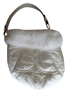 Coach Fur Satin Small Leather Hobo Bag
