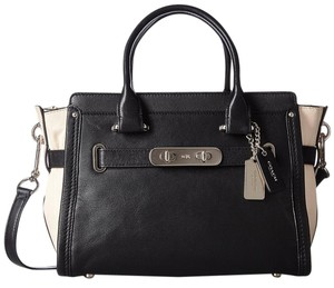 Coach Swagger Carryall 27 Satchel in Black and Chalk