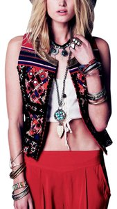 Free People High Low Ruffle Gypsy Embellished Multi Pom Pom Ruffled Bohemian Chic Fp Vest
