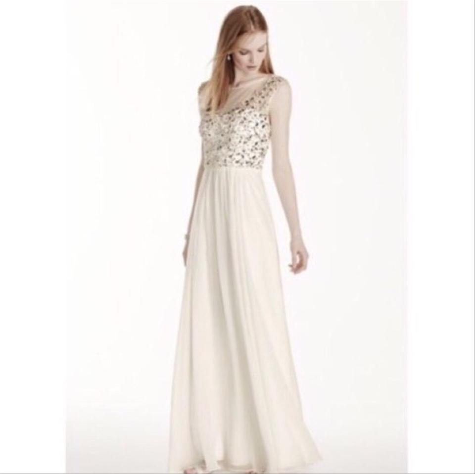 David\'s Bridal Ivory Chiffon Illusion Neckline Crystal Bodice ...