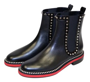 Christian Louboutin Studded Leather Spike Red Sole Black, Red, Silver Boots