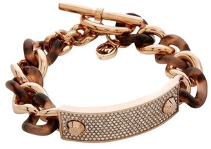 Michael Kors NWT ROSE GOLD BLUSH TORTOISE PAVE PLAQUE CHAIN BRACELET MKJ4322791