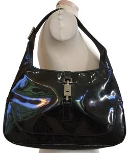 Gucci Jackie O Push Button Lock Patent Leather Hobo Bag