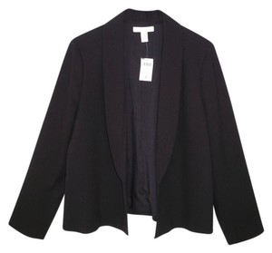 Chico's Crepe Shawl Collar Open Front Black Jacket