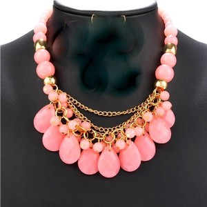 OtherRunway Runway Pink Bead and Faceted Drop Statement Necklace