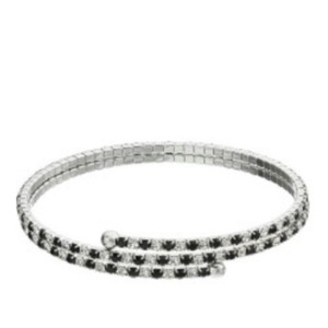 Duchess of Dazzle Genuine crystal fine silver plated double bangle bracelet