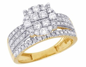 Other 10K Yellow Gold Genuine Diamond Ladies Cluster Engagement Ring 1.32CT