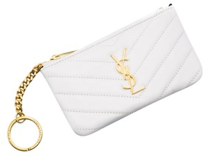 Saint Laurent Womens Leather YSL Ivory Monogram Key Coin Pouch