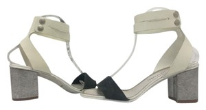 Pedro Garcia Block Medium Heel Ankle Strap White, Grey Sandals