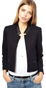 ASOS Crop Leather Petite Navy and Black Blazer