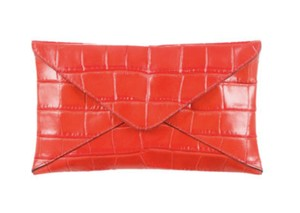 Michael Kors Red Leather Persimmon Clutch