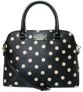 Kate Spade Polka Polka Leather Small Rachelle Satchel in BLACK/WHITE PLK DOT