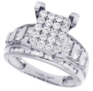 Jewelry Unlimited 10K White Gold Baguette Real Diamond Cinderella Engagement Ring 1ct