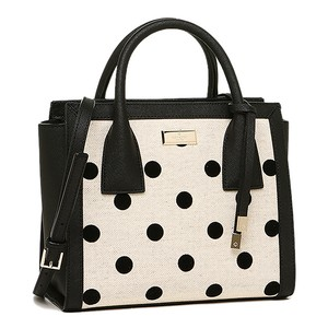 Kate Spade Leather Polk Small Meriweather Satchel in BLACK / NATURAL DOT