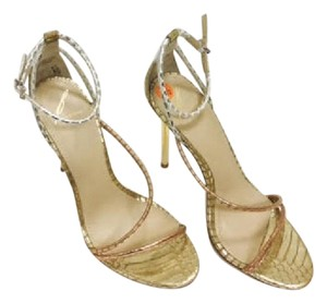 Brian Atwood Labrea Snakeskin gold Sandals