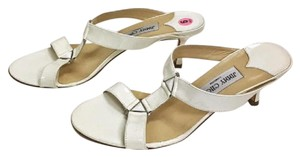 Jimmy Choo Patent Leather Low Heel white Sandals