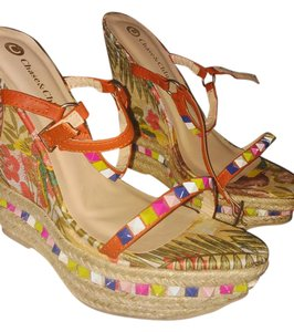 Chase & Chloe Floral Color-blocking Spike Summer Open Toe Multi Wedges
