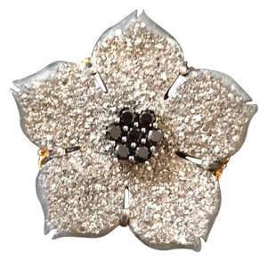 Gems En Vogue Platinum Drusy and Black Spinel Flower Ring