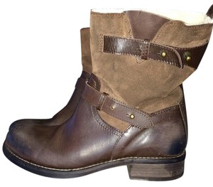 Steven by Steve Madden Leather Suede Vintage Motorcycle Moto Brushed Sherpa Brown Boots