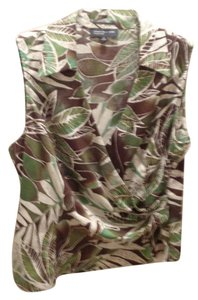 Jones New York Top Green/Brown Print
