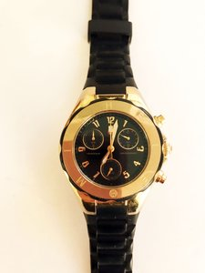 Michele Michelle Jelly Bean Watch - Black band and Gold Face