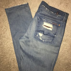 7 For All Mankind Straight Leg Jeans-Distressed