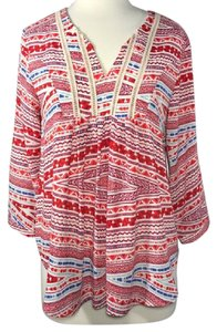 Collective Concepts Print Tribal Crochet Top