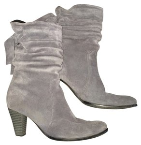 Fur Boho Suede Leather Fringe GRAY Boots