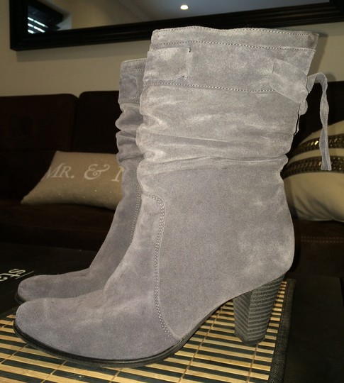 Other Fur Boho Suede Leather Fringe GRAY Boots