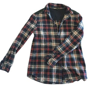 Lucca Couture Plaid Fall Blouse Navy Plaid Button Down Shirt Green
