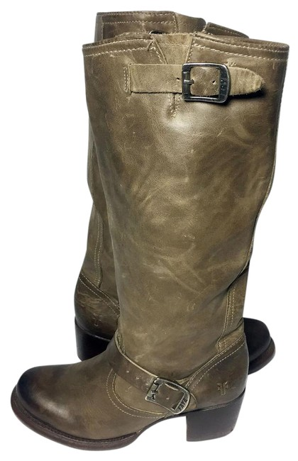 Item - Khaki Vera Slouch Engineer Leather Motorcycle Women Boots/Booties Size US 7 Regular (M, B)