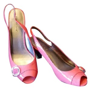 Predictions Pink Slingback Open Toe Patent Coral Pumps