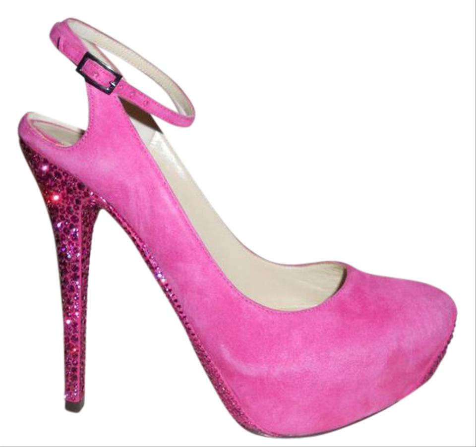 a7d69a17e20 Jimmy Choo Fuchsia Pink Tame Suede Ankle Strap Swarovski Crystal Heels  Pumps 38.5 Platforms Size US 8.5 59% off retail