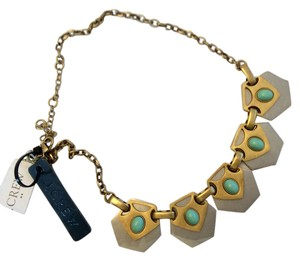 J.Crew NWT - Modern Turquoise, Silver And Gold Chunky Necklace