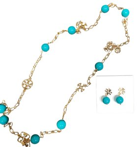 Tory Burch colorful necklace and earrings