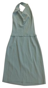 Max Mara Backless Halter Teal Dress