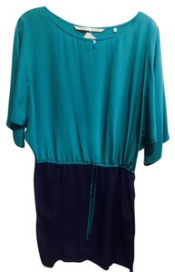 Twelfth St. by Cynthia Vincent short dress navy/turquoise Silk Color-blocking on Tradesy