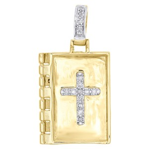 Other 10K Yellow Gold Diamond Holy Book Bible Cross Pendant 1.10