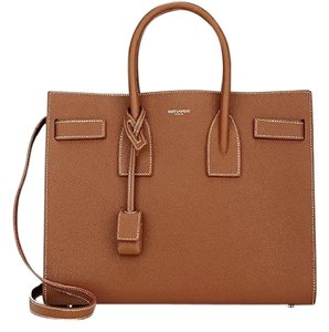 Saint Laurent Sac De Jour Grained Calfskin Crossbody Small Satchel in Brown