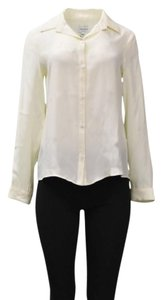 Amy Matto Button Front Silk Top Ivory